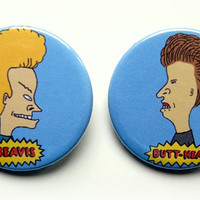 Beavis and Butt-head - button badge or magnet set 1.5 Inch