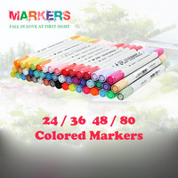 Water Color Pen Dual Head Brush Marker Highlighter Colored Pen Stationery Copic Markers 24/36/48/80 Marker Set for Sketching & Drawing STA