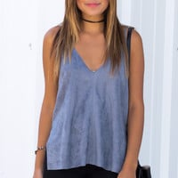 Olivia Suede Tank - Dusty Blue