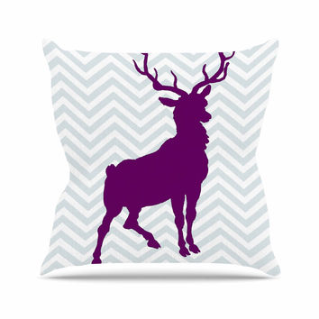 "Suzanne Carter ""Chevron Deer"" Purple  Throw Pillow"