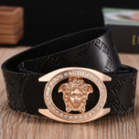 Versace 2018 new wild trend men's fashion smooth buckle belt F0789-1 Gold