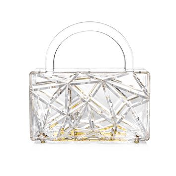 3D Engraved Clear Acrylic Top Handle Box Clutch
