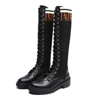 FENDI Classic Trending Women Personality Leather Knit Over-The-Knee Boots