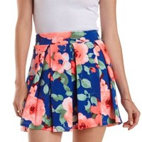 Multi Pleated Floral Print Skater Skirt by Charlotte Russe