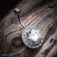 Grand Allure Prong Gem Belly Button Ring