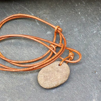 Natural River Rock and leather necklace, Meditation Serenity Pendant, OOAK  and Free Shipping