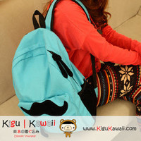 NEW Sky Blue Cute Mustache Embellished Backpack Bag KK203