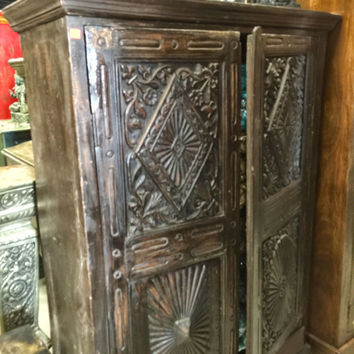 Distressed Armoire Cabinet Chest Reclaimed Vintage Chakra Hand Carved Antique Indian Furniture