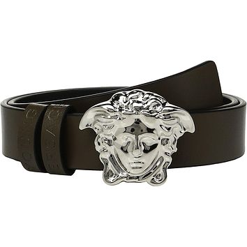 Versace Kids Baby Boy's Leather Belt with Medusa Buckle (Toddler/Little Kids) Green Be