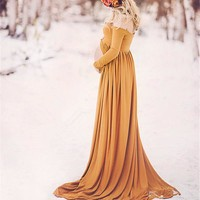 2018 Pregnant Women Dresses Cotton Maternity Clothes Gown Photo Photography Prop Maxi Dress