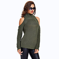 Textured Cold Shoulder Sweater