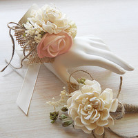 Bush Pink Sola Flower Wrist Corsage and/or Boutonniere, Made to Order.
