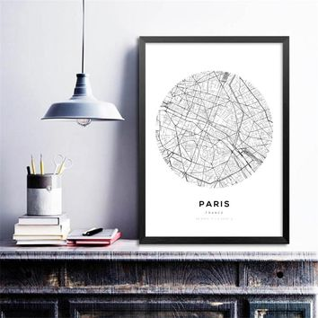 Minimalist Canvas Painting Wall Art Picture City Maps Decor , Pairs London New York Wall Art Prints Map Poster