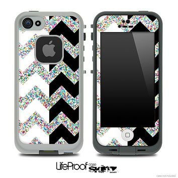 Black/White and Colorful Dotted V2 Chevron Pattern Skin for the iPhone 5 or 4/4s LifeProof Case
