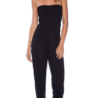 Indah Crush Bandeaux Jumpsuit in Black