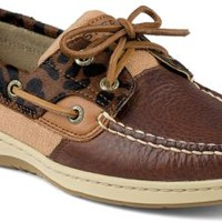 Sperry Top-Sider Bluefish Haircalf 2-Eye Boat Shoe Tan/Leopard, Size 8.5M  Women's Shoes
