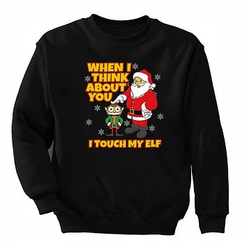 XtraFly Apparel Men's When I Think About You I Touch My Elf Ugly Christmas Pullover Crewneck-Sweatshirt