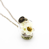 Glass flower long necklace