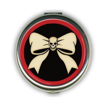 Skull N Bow Round Compact by Retro-A-Go-Go!