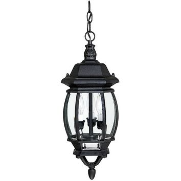 """8""""W French County 3 Lamp Hanging Outdoor Lantern Black"""