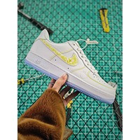 Nike Air Force 1 Low Af1 White Gold Fashion Shoes