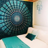 Peacock Tapestry Green Beautiful Indian Mandala Tapestry Hippie Decorative Wall Tapestries Hanging Bohemian Bedspread 206 *160cm