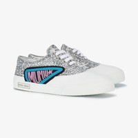 PATCH EMBELLISHED GLITTER SNEAKERS