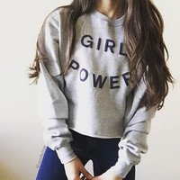 GIRL POWER sweet Ms. printing letter sweater