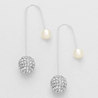 Pearl Rhinestone Asymmetric Hook Earrings Silver