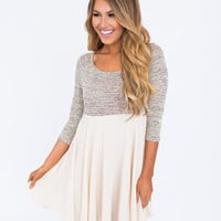 Two Tone Dress- Oatmeal/Ivory