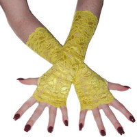 My sunshines - bright yellow lace arm warmers fingerless gloves wrist cuffs sleeves kawaii floral flower