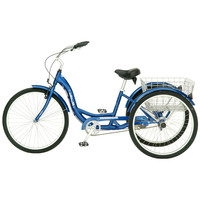 Blue Men's Women's Cruiser Style 3-Wheel Tricycle Bike with Basket