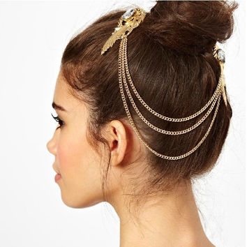 Fashion Gold Plated Crystal Feather Charms Hair Brooch Clip Pin Cuff Chain Head Band Hair Jewelry for Women Girls Christmas Gift