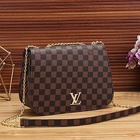 LV Louis Vuitton Women Fashion Leather Chain Crossbody Shoulder Bag