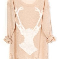 Destroyed Deer Semi-sheer Sweater - OASAP.com