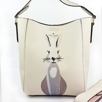 Kate spade Fashion new rabbit dog print shopping high capacity women shoulder bag White