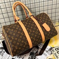 LV Louis Vuitton hot sale brown printed letter handbag luggage bag travel bag shoulder bag