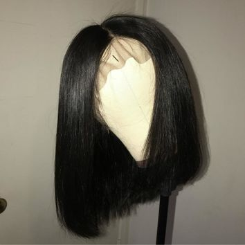 Cool Short Bob Wig Brazilian Remy Hair Straight Lace Front Human Hair Wigs For Black Women Natural Color Lace Wig King Rosa QueenAT_93_12