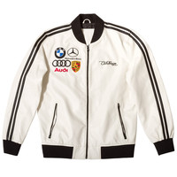Club Foreign PU Leather Racing Jacket White Black Stripes