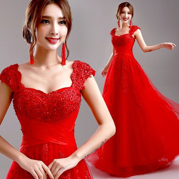 DressyProm Red Evening Dress 2015 New Wedding Party Dress Cap Sleeve Lace Long Formal Dress Prom Dresses DP097 = 1947006660