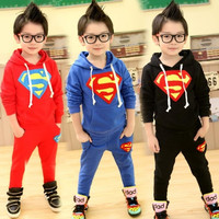 1pc Hooded Pullover+1pc Pants Superman Winter Baby Children Clothing Set Boy clothes Set Hoodies boy suits Roupas menino = 1946534660