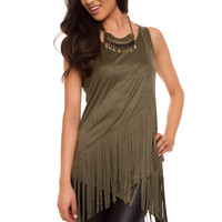 Sequoia Fringe Top - Olive
