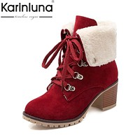 KARINLUNA  large size 34-43 Martin Boots Women Fashion Woman Shoes Leisure Add Warm Fur Lace Up Winter Ankle Boots Platform