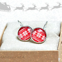 25% OFF Red & White Winter Earrings Christmas sweater motif , gift for her from MADEbyMADA