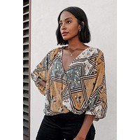 Fawn Patchwork And Floral Top - Gold