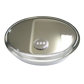 Silver Toned Etched Oval 3 Stars Oval Trinket Jewelry Box