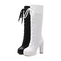Lace Up Knee High Boots High Heels Women Shoes Fall|Winter 6590