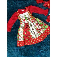 New Fall Christmas Girls's It's The Grinch Sleeveless Party Dress CH