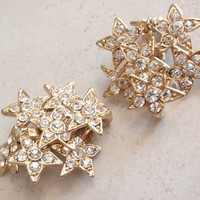 Star Earrings Clear Rhinestone Dimensional Clip On Layered Articulated Statement Vintage