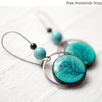 Turquoise earrings - Winter fashion jewelry - Tree jewelry (E061)